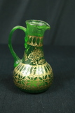 Green Glass Pitcher With Gold Painted Trim