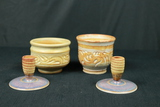 2 Pottery Candle Stick Holders & 2 Pottery Cups
