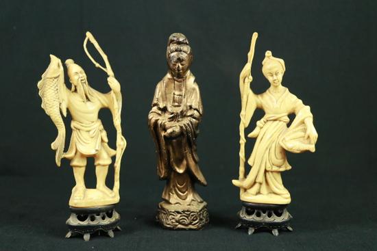 Wax Oriental Figurine & 2 Plastic Figurines
