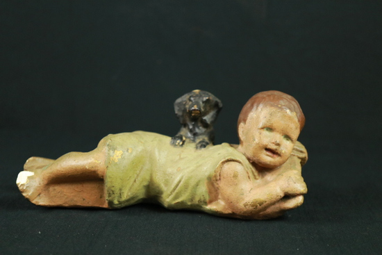 Plaster Figurine Child With Dog
