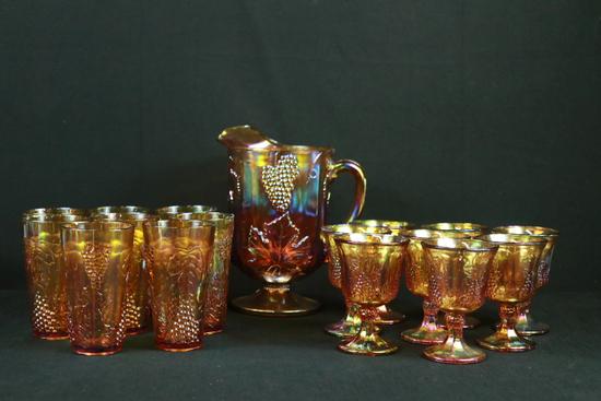 Carnival Glass Pitcher, 8 Glasses, & 8 Wine Glasses
