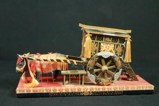 Oriental Ox Cart Wooden Figurine