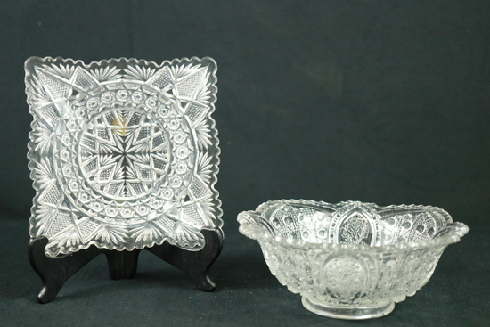 Pressed Glass Bowl & Tray