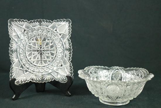 Pressed Glass Bowl & Tray