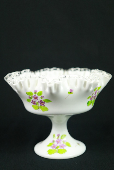 Signed Fenton Ribbon Bowl With Handpainted Violets