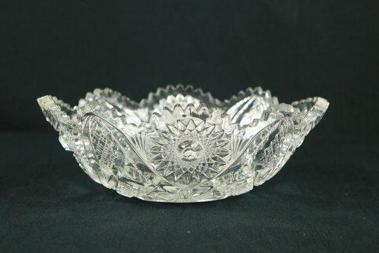 Oval Pressed Glass Bowl