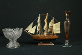 Pressed Glass Compote, Clipper Ship, & Etched Glass Vase
