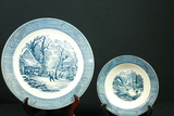 Currier + Ives Early Winter Pattern Plate And Bowl