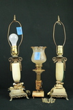 2 Alabaster Lamps, 1 Hurricane Style Lamp With Prisms