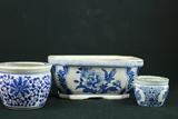 3 Oriental Flower Pots