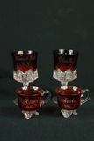 2 Ruby Glass Wine Glasses, 2 Ruby Glass Teacups