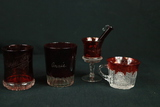 5 Assorted Pieces Of Ruby Glass