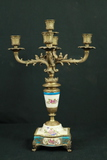 Porcelain & Brass Candleabra