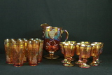 Carnival Glass Pitcher, 8 Glasses, & 8 Wine Glasses