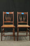 Pair Of Oak East Last Cane Bottom Chairs