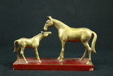 2 Brass Horses On Stand