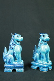 2 Porcelain Foo Dog Figurines