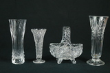 Crystal Basket & 3 Vases