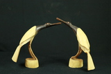 2 Horn Carved Bird Figurines