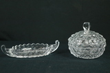 Fostoria Pressed Glass Candy Dish & Gravy Bowl