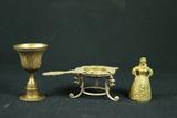 2 Brass Bells & Brass Strainer