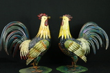 Pair Of Metal Roosters