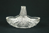 Handled Oval Pressed Glass Bowl