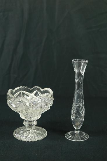 Pressed Glass Bowl & Glass Vase