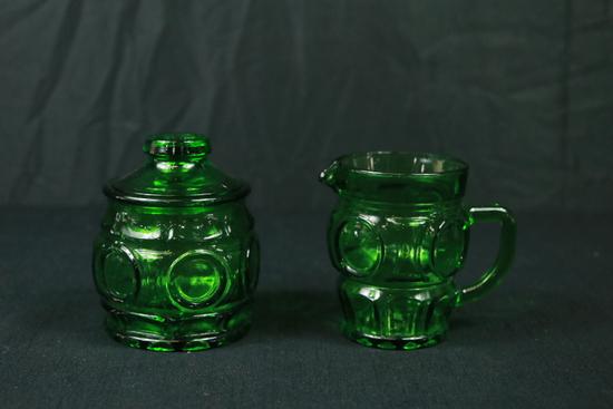 Green Pressed Glass Sugar & Creamer