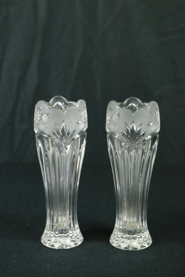 Pair Of Pressed Glass Vases