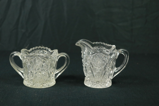 Pressed Glass Sugar & Creamer