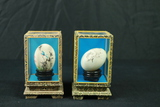 2 Hand Painted Oriental Eggs In Case