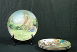 4 English Country Cottage Hand Painted Plates