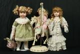 3 Dolls & Carousel Horse