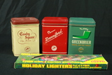 3 Tobacco Tins With Contents & Vintage Lighters