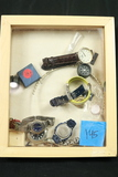 Shadow Box With Assorted Watches