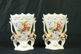 Pair Of Hand Painted Mantle Vases