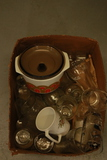 Box Of Assorted Glasses, Cups, & Pyrex Bowl