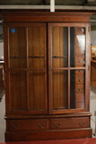 Antique Oak Gun Cabinet With Drawers