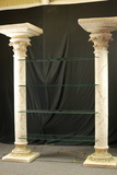 Plaster Lighted Columns With Glass Shelves