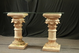 2 Plaster Column Hall Table With Glass Top