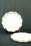 2 Milk Glass Egg Dishes With Gold Trim