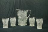 Pressed Glass Pitcher & 4 Glasses