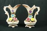 Pair Of Porcelain Mantle Vases