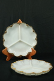 2 Milk Glass Divided Trays With Gold Trim