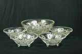 Large Pressed Glass Bowl & 4 Smaller Pressed Glass Bowls
