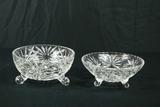2 Crystal Footed Bowls