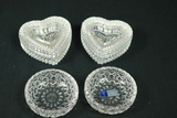 2 Heart Shaped Trinket Boxes & 2 Crystal Ash Trays