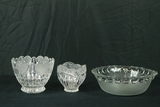 2 Crystal Bowls & 1 Pressed Glass Bowl