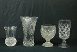 3 Pressed Glass Vases & 1 Crystal Vase